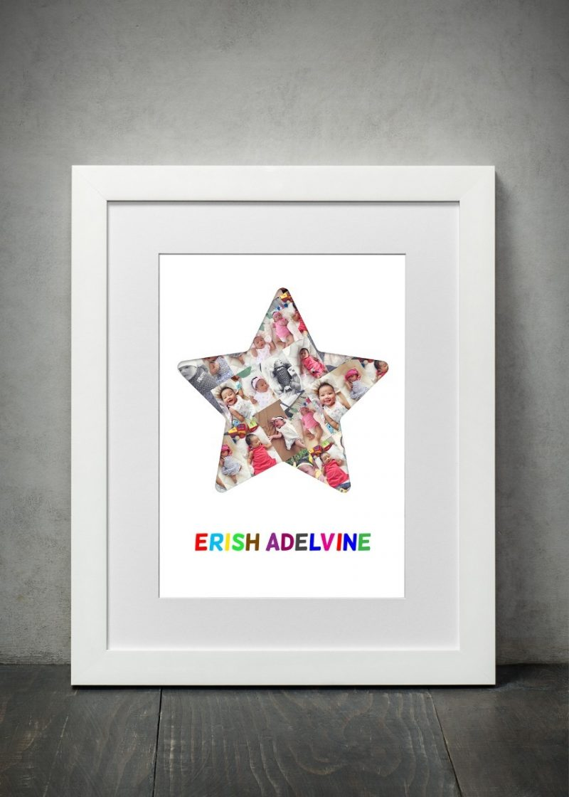 Photo Collage - Star 1-Framed A4 print-White-0