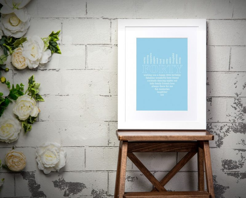 Typography - 40th Birthday 1-Framed A3 print -Black-1722