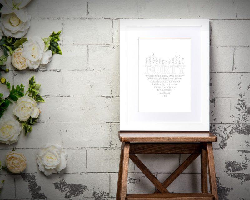 Typography - 40th Birthday 1-Framed A3 print -Black-1723