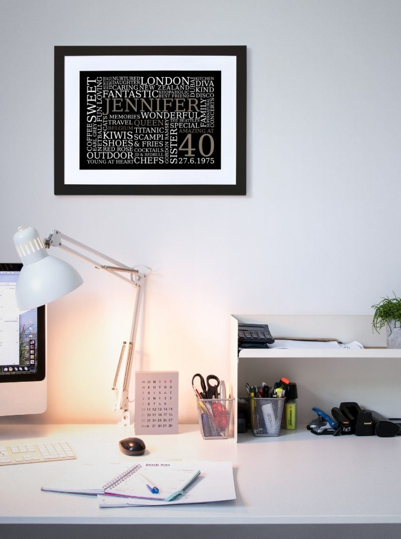Typography - Word Art 1-Black-Framed A4 print-1953