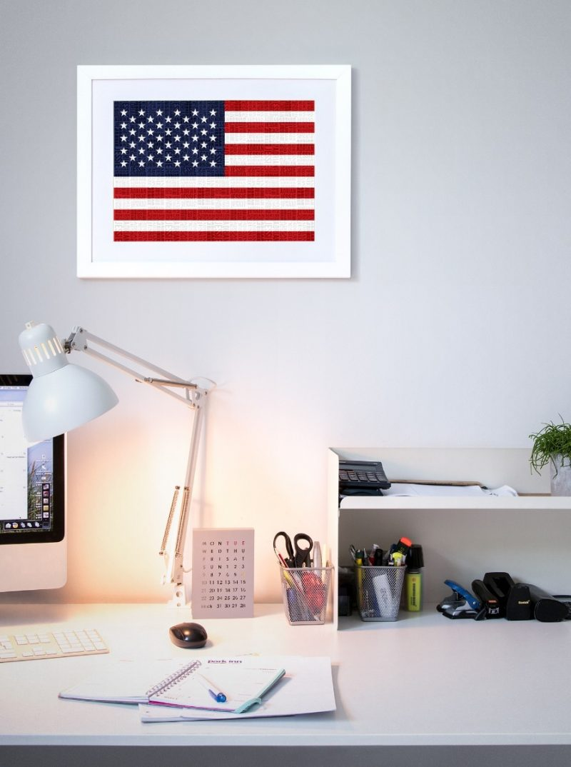 Typography - Flags 1-Framed A4 print-Black-1752