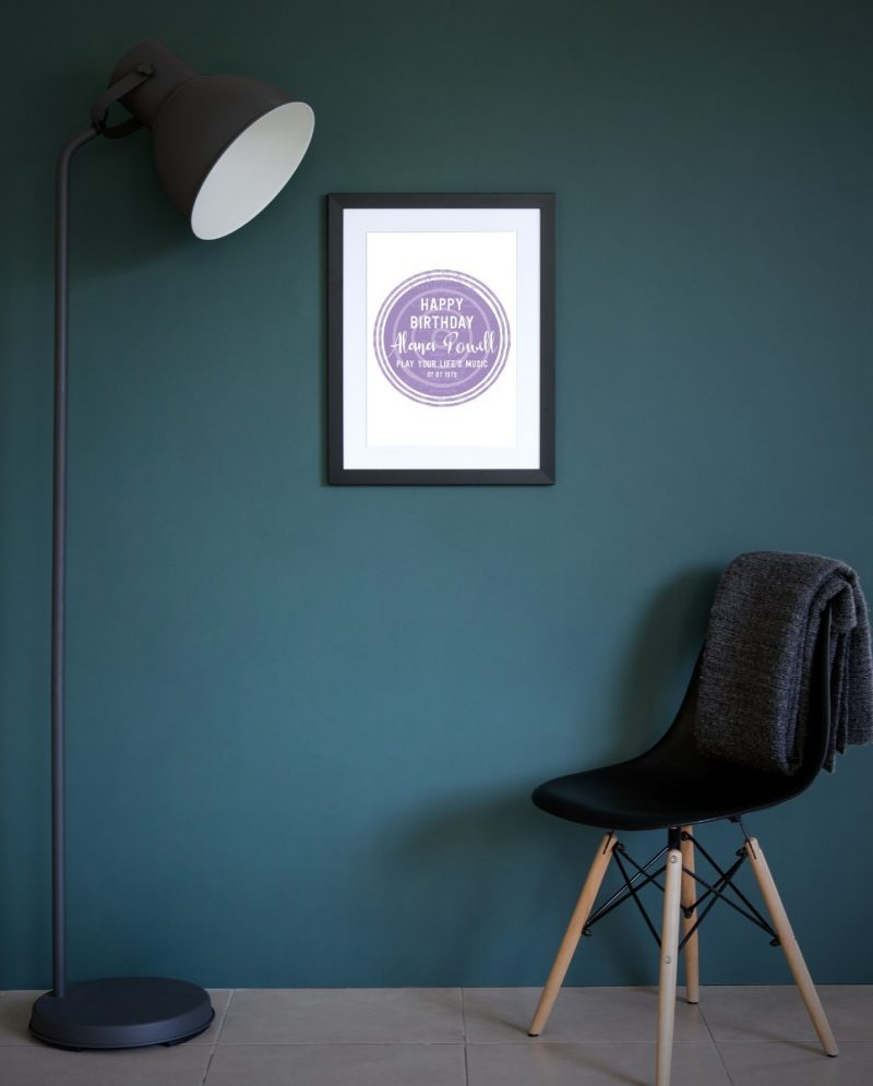Typography - Happy Birthday Fave Songs 1-Framed A4 print-Black-1781