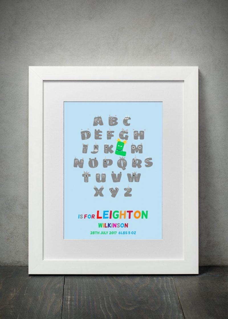 Typography - New Baby Monster Alphabet 1-Framed A3 print -Black-1804