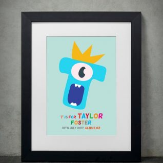 Typography - New Baby Monster Alphabet 2-Framed A4 print-Black-0