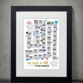 Typography - The Road to 40 1-Framed A3 print -Black-0