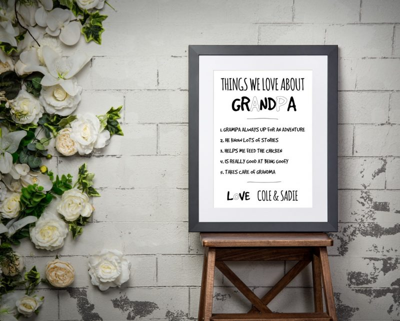 Typography - Things We Love About 1-Framed A3 print -Black-1850