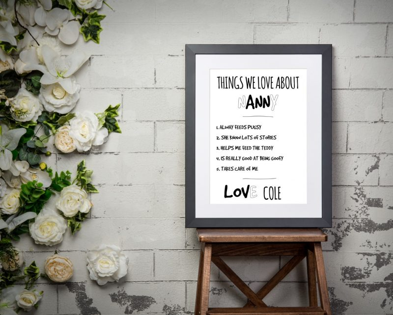 Typography - Things We Love About 1-Framed A3 print -Black-1852