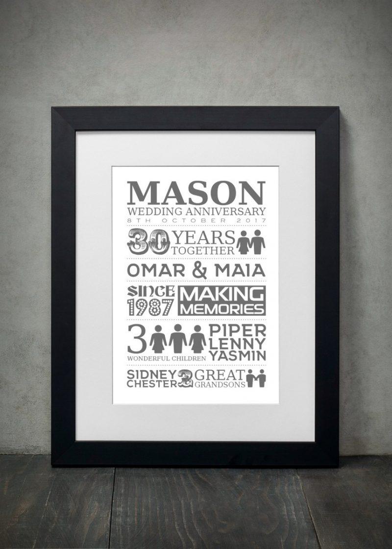 Typography - Wedding Anniversary 1-Black-Framed A3 print-0