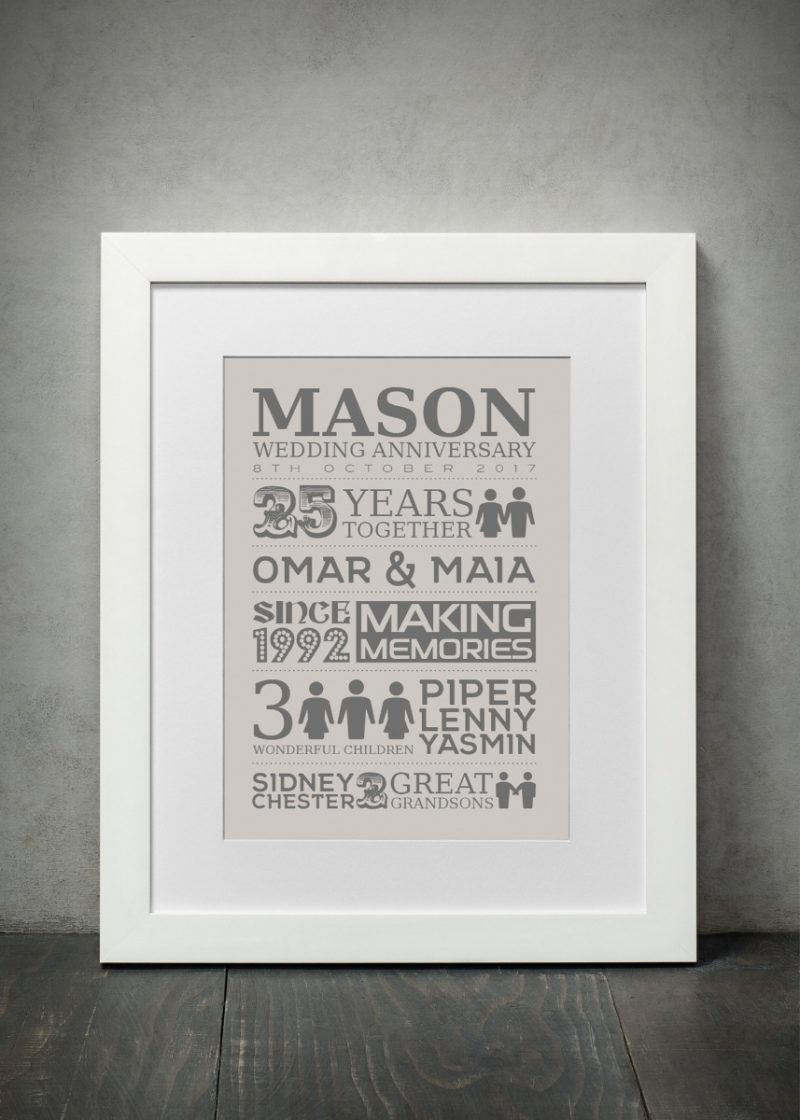 Typography - Wedding Anniversary 1-Black-Framed A3 print-1903