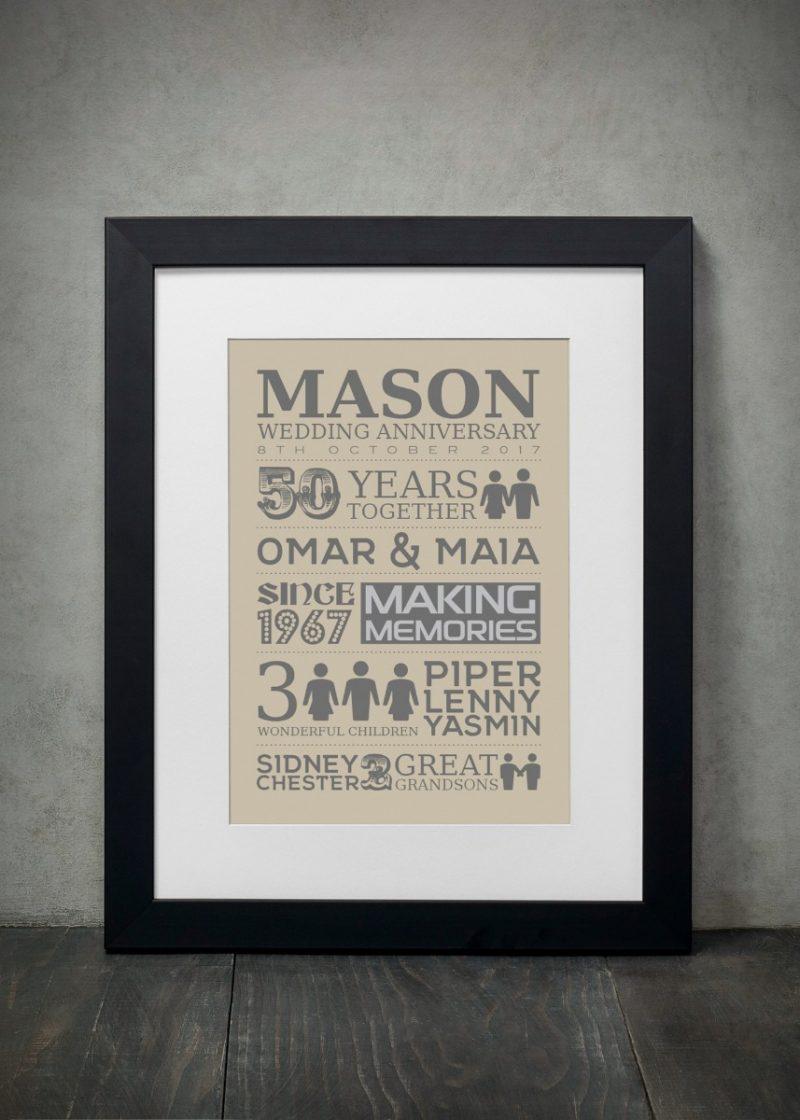 Typography - Wedding Anniversary 1-Black-Framed A3 print-1905