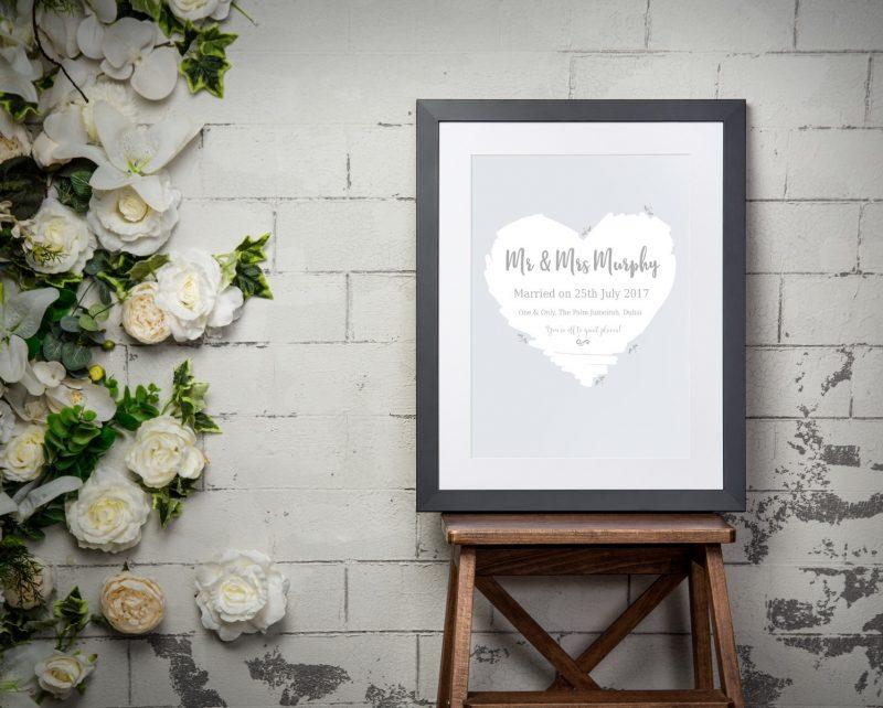 Typography - Wedding Heart 1-Black-Framed A4 print-1925