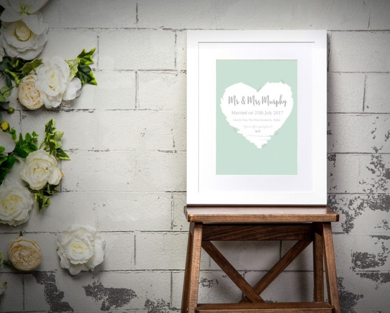 Typography - Wedding Heart 1-Black-Framed A4 print-1926