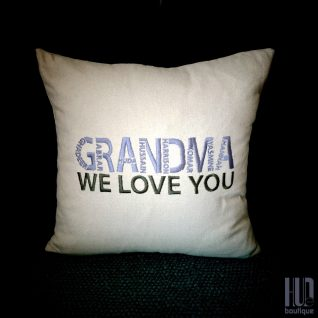 Bespoke Embroidered Cushion with Grandchildren Name, Personalized Cushion-0