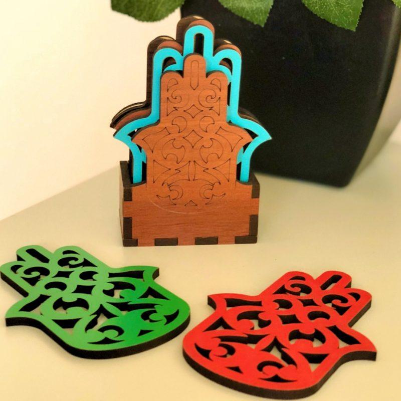 Hand of Fatima Wooden Coasters – Set of 6-0