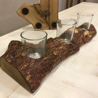 The Log. Wooden Centre Piece - Tea light candle holder Antique Colour-0