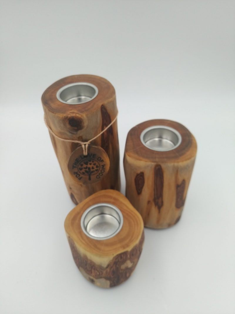 Stack- Set of 3 rustic wooden tea light Candle holders-0