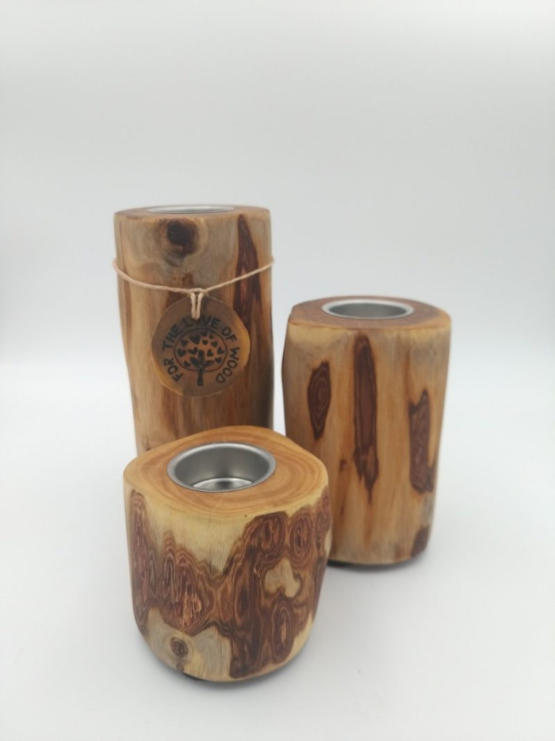 Stack- Set of 3 rustic wooden tea light Candle holders-2014