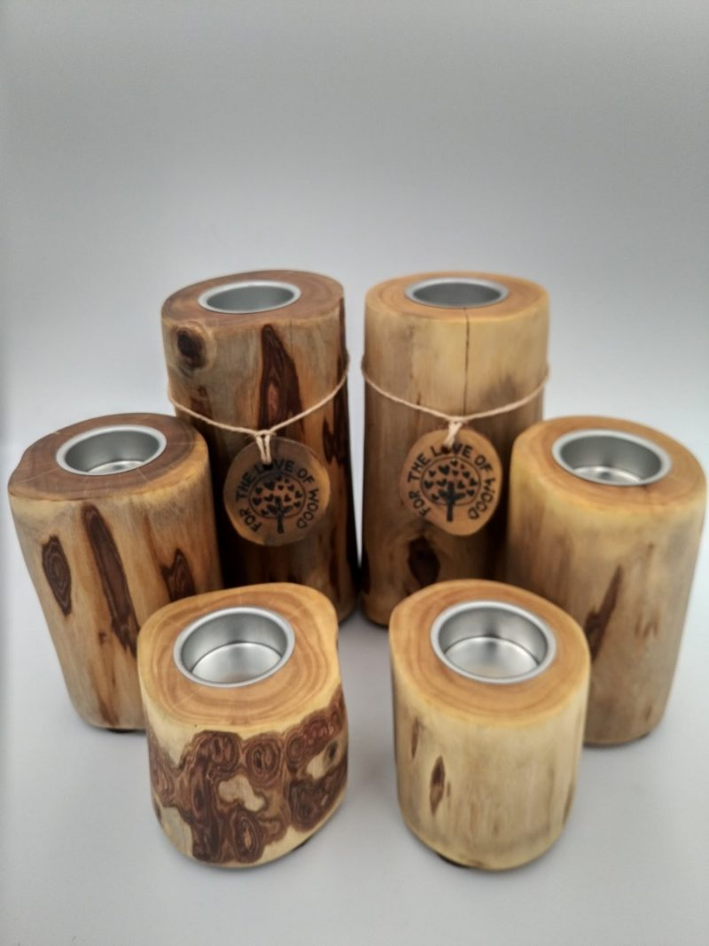 Stack- Set of 3 rustic wooden tea light Candle holders-2015