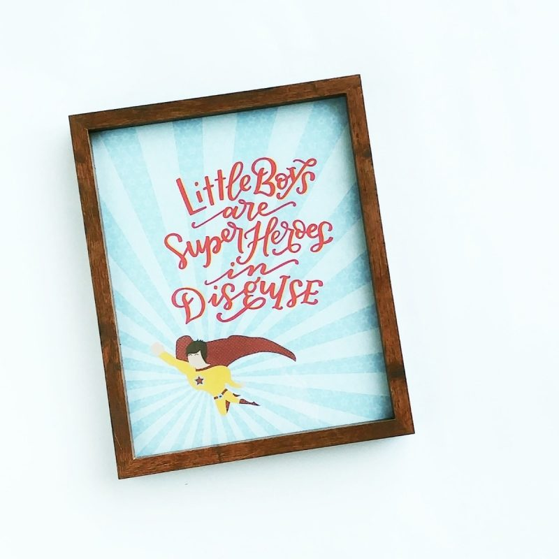 Little Boys are Superheroes Typography Frame-0