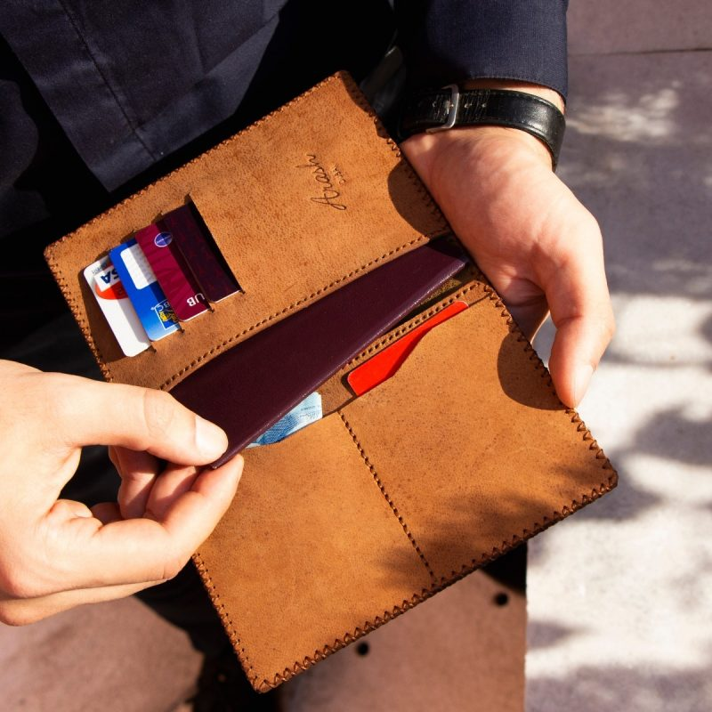 Passport Holder, 100% Handmade and Hand-Painted on Genuine Camel Leather with Multiple Functions for Travel (PANDA)-2674