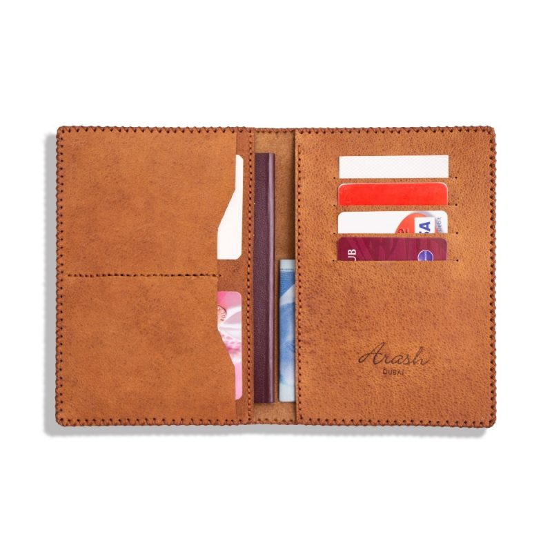 Passport Holder, 100% Handmade and Hand-Painted on Genuine Camel Leather with Multiple Functions for Travel (PANDA)-2676