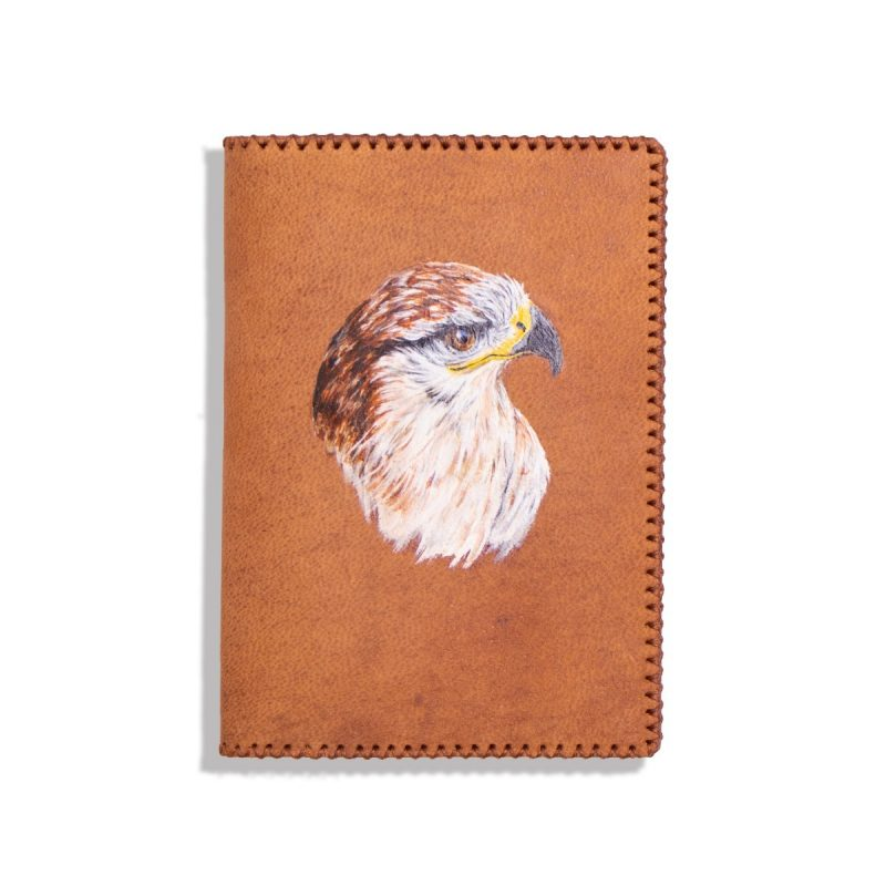 Passport Holder, 100% Handmade and Hand-Painted on Genuine Camel Leather with Multiple Functions for Travel (PANDA)-0