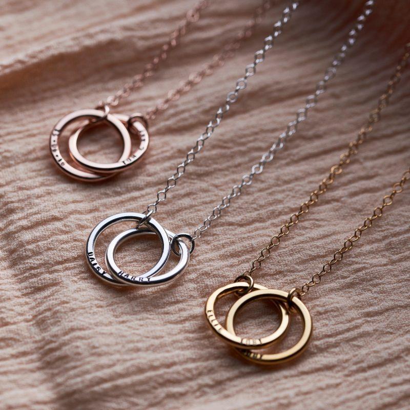 Personalised Medium Double Hoop Names Necklace-1443