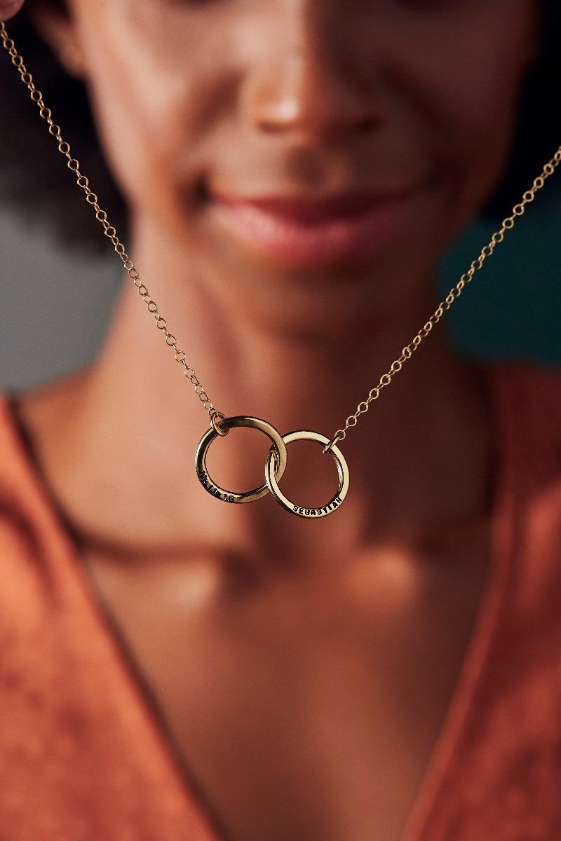 Personalised Medium Double Hoop Names Necklace-0