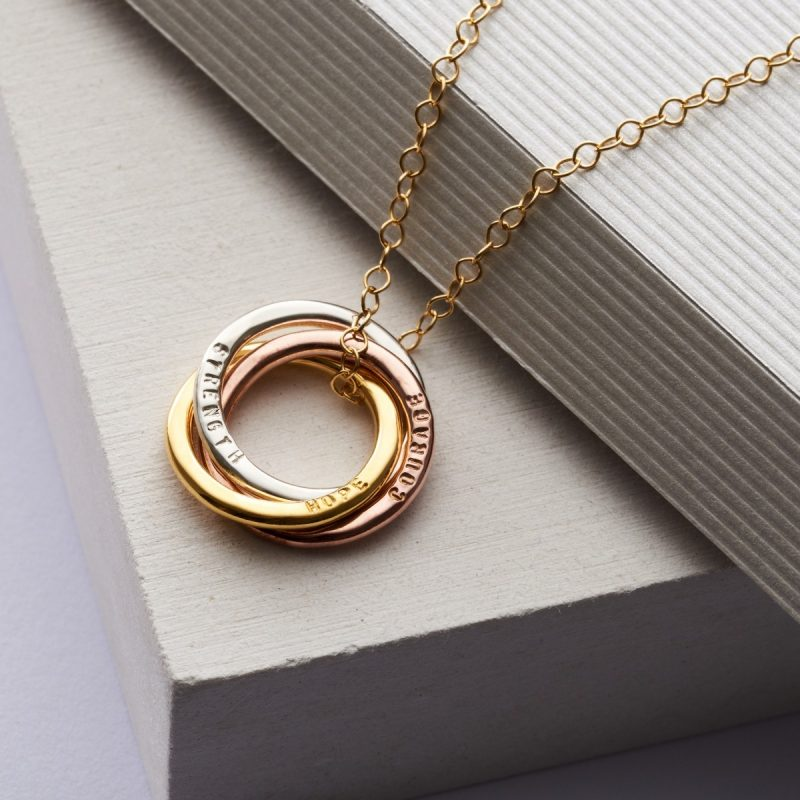 Personalised Mixed Gold Russian Ring Necklace-2872