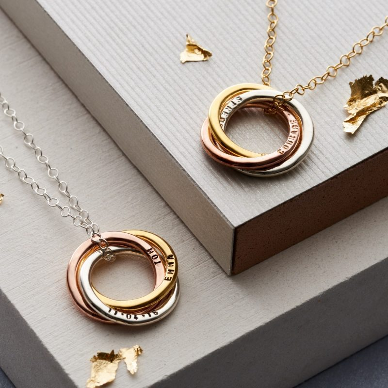 Personalised Mixed Gold Russian Ring Necklace-2875