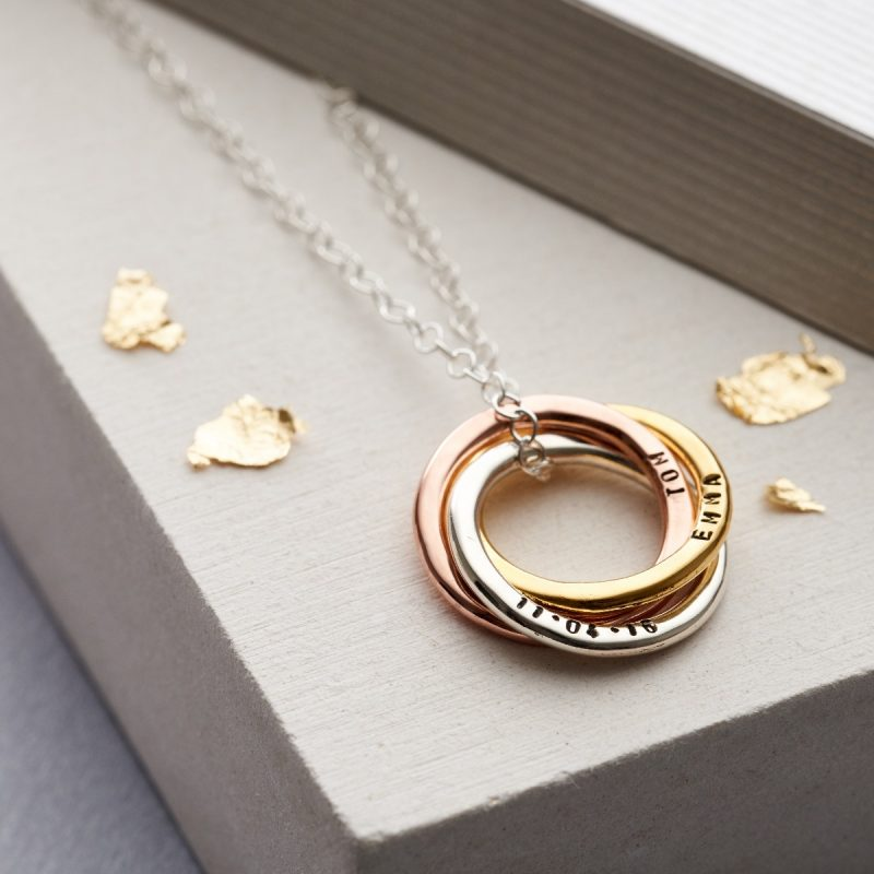 Personalised Mixed Gold Russian Ring Necklace-2876