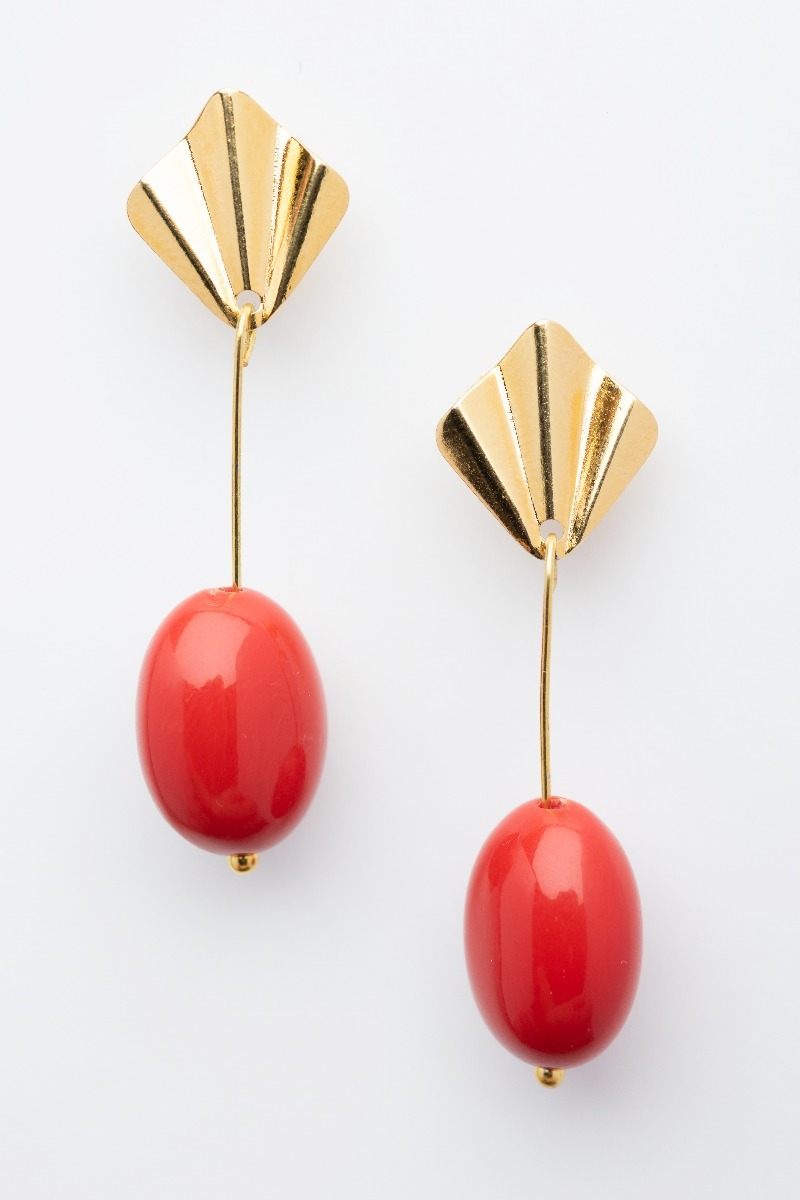 Coral colour earrings-0