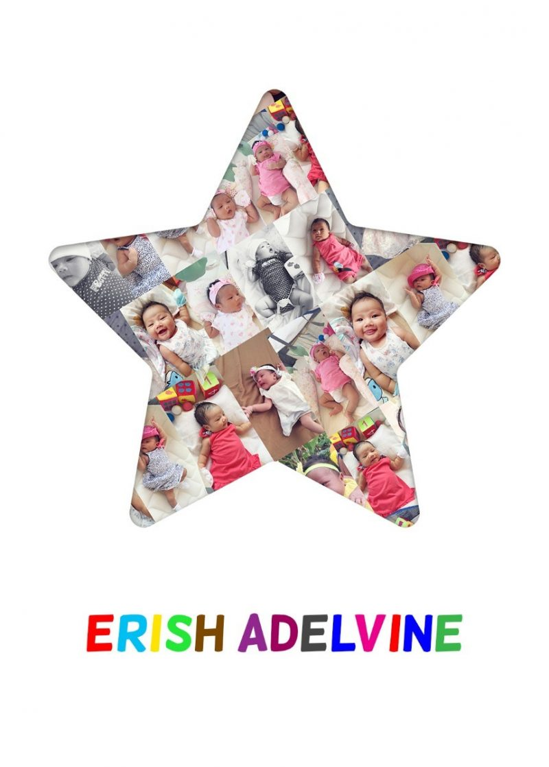 Photo Collage - Star 1-Framed A4 print-White-1746