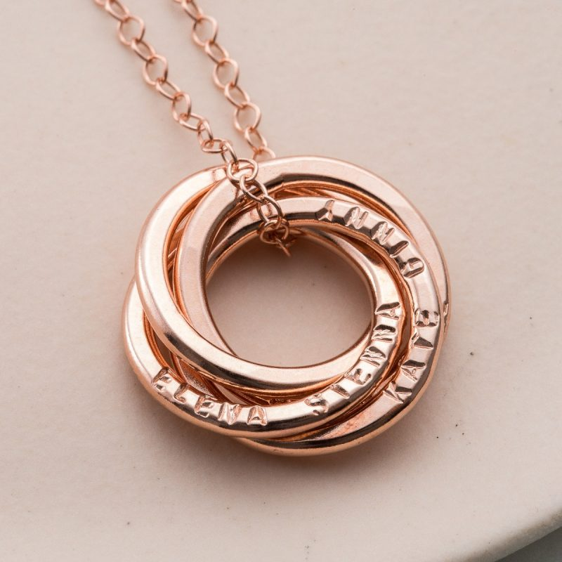 Personalised Four Ring Russian Necklace-1382