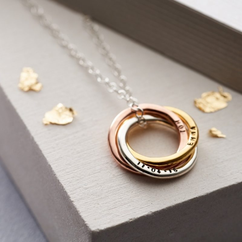 Personalised Mixed Gold Russian Ring Necklace-0