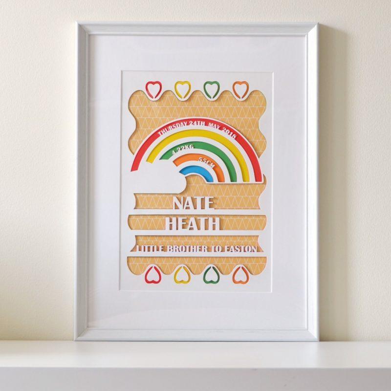 Personalised Birth board Papercut-1740