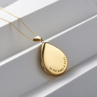 Personalised Large Droplet Locket Necklace-0