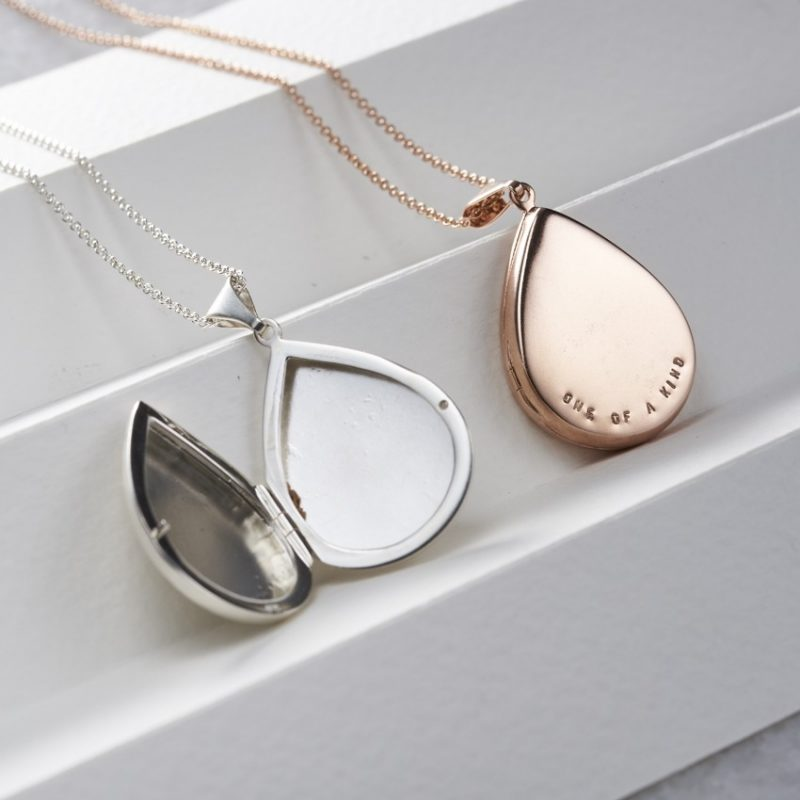 Personalised Large Droplet Locket Necklace-1430