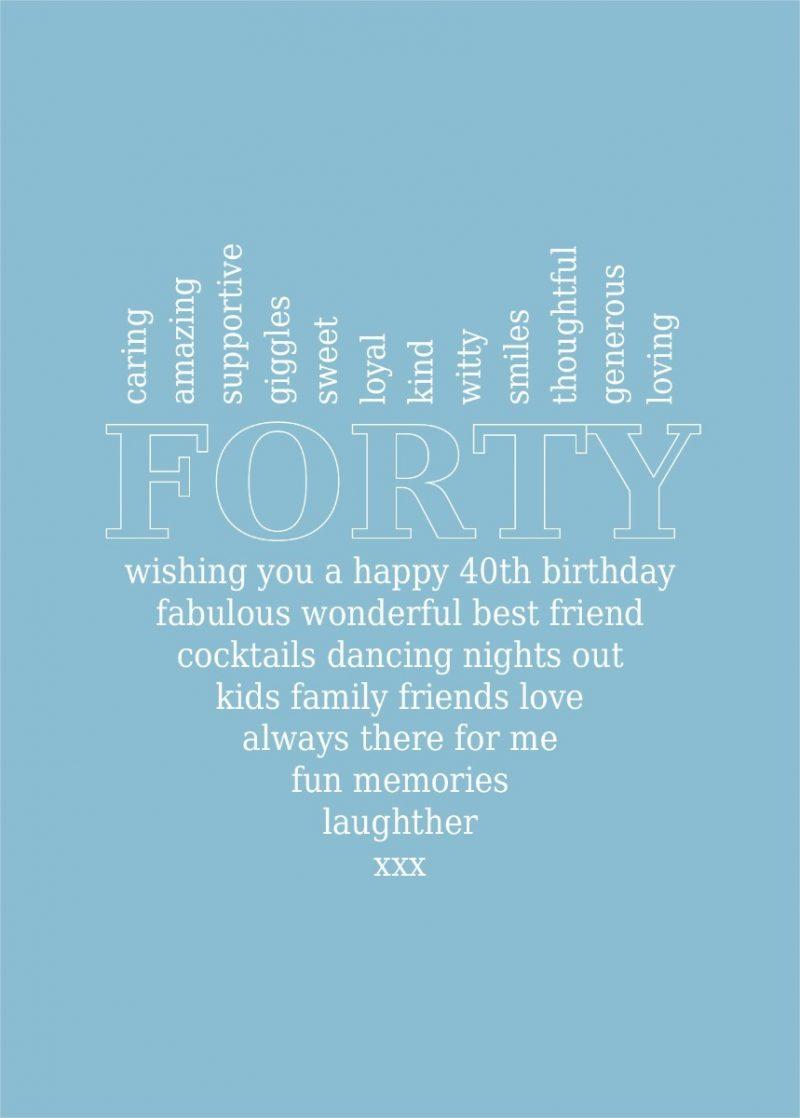 Typography - 40th Birthday 1-Framed A3 print -Black-1725