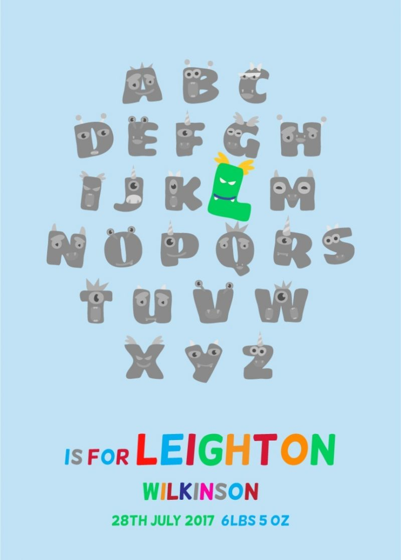 Typography - New Baby Monster Alphabet 1-Framed A3 print -Black-1806