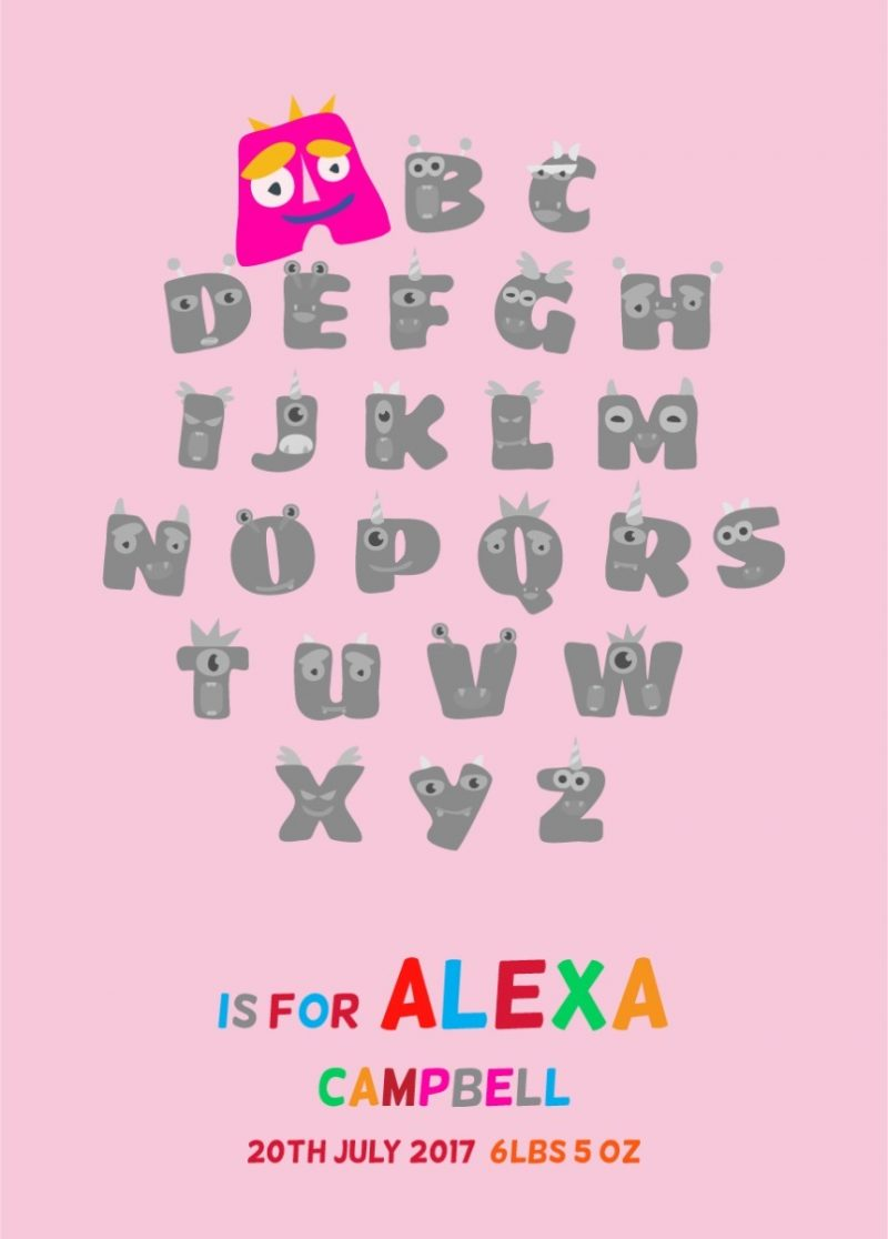 Typography - New Baby Monster Alphabet 1-Framed A3 print -Black-1807