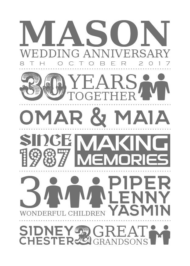 Typography - Wedding Anniversary 1-Black-Framed A3 print-1906