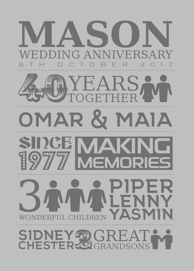Typography - Wedding Anniversary 1-Black-Framed A3 print-1908