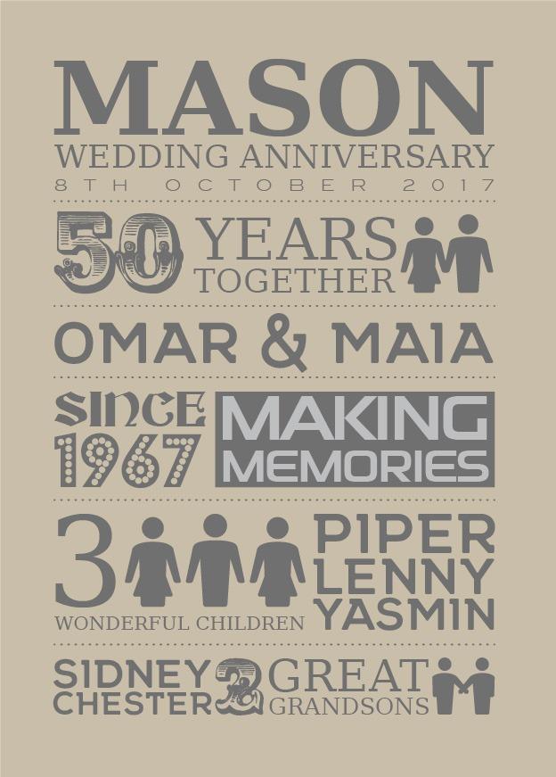 Typography - Wedding Anniversary 1-Black-Framed A3 print-1909
