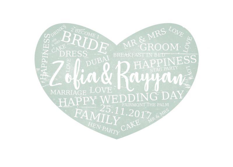 Typography - Wedding Heart 2-Black-Framed A4 print-0