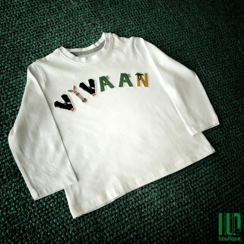 Personalized Boys T-shirt – Custom Embroidered Cotton Patches (1.5 - 7 years old)-2076