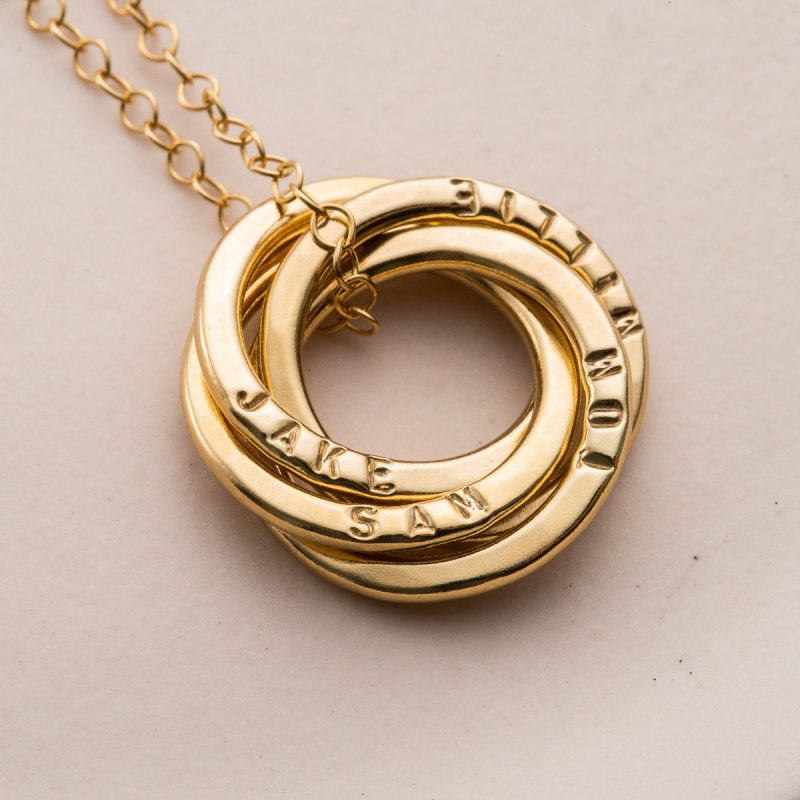 Personalised Four Ring Russian Necklace-1383