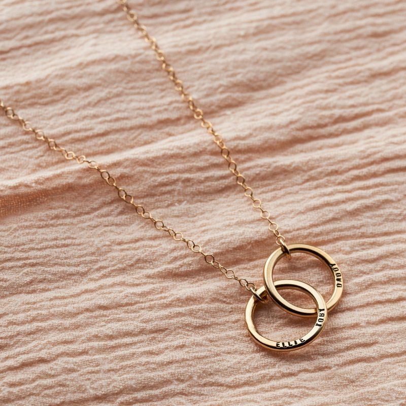 Personalised Medium Double Hoop Names Necklace-1447