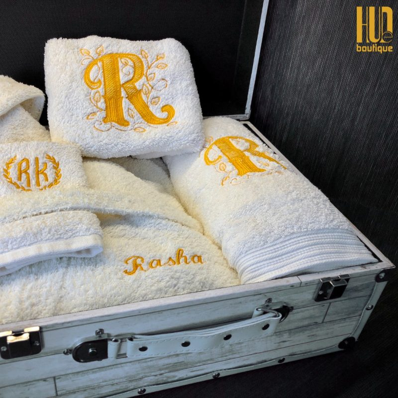 4 piece custom embroidered bath robe and towel set-0