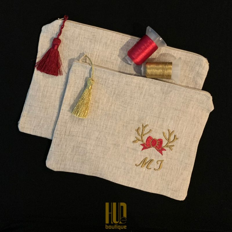 Handmade Custom Embroidered Makeup Pouch-3209